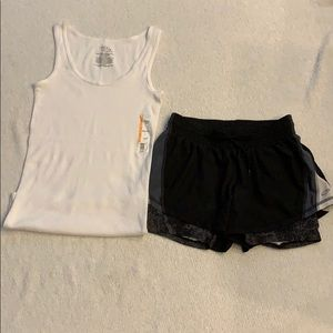 SIZE SMALL SHORTS W/BUILT IN SPANDEX & TANK